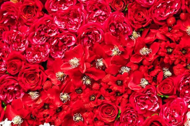 Arrière-plans de fleurs rouges comme tapis de fleurs