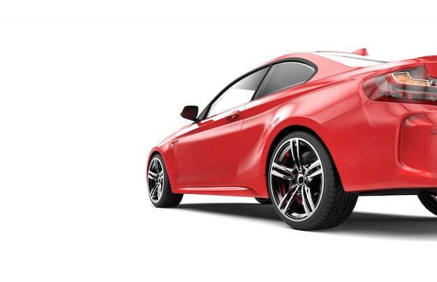 L'arrière d'une voiture de luxe rouge isolée sur blanc