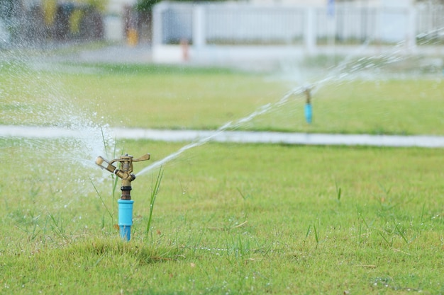 Arrosage par aspersion d'eau dans le parc