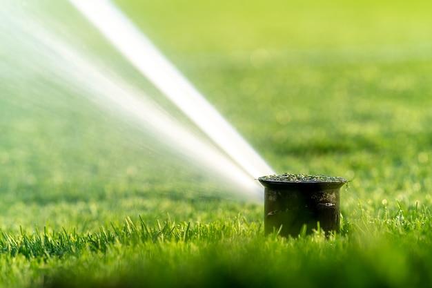 Arroser les pelouses des terrains de sport à l'aide de systèmes de pulvérisation automatiques.