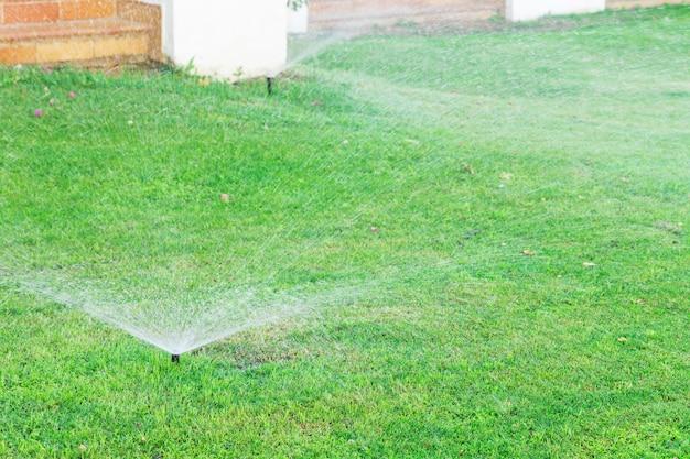 Arroseur dans le jardin arrosant la pelouse