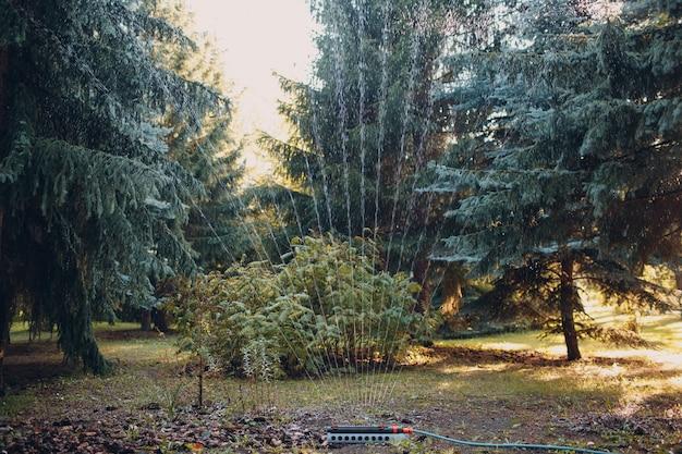Arroseur de pelouse pulvérisant de l'eau sur l'herbe verte au parc de jardin. système d'irrigation.