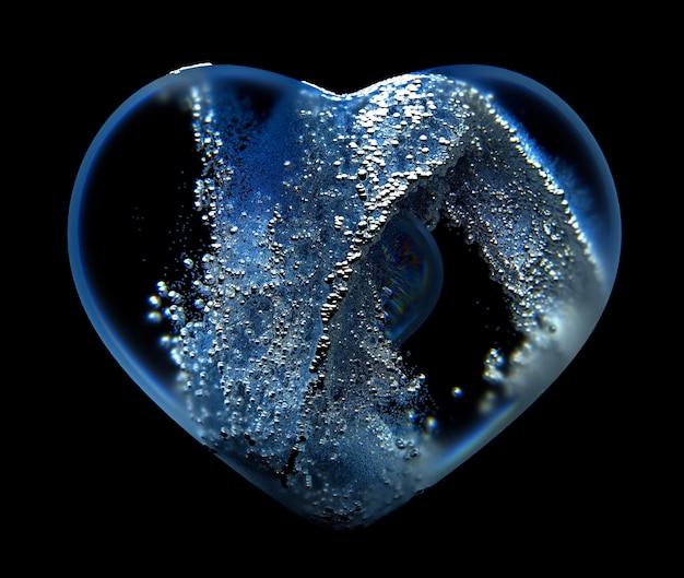 Art 3d du cœur de verre abstrait avec de petites particules de boules à l'intérieur