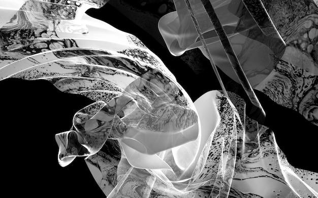 Art 3d fond noir et blanc avec draperie ou couverture avec motif organique sur la surface