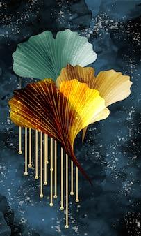Art abstrait 3d art fonctionnel comme la géode aquarelle peignant des feuilles vertes dorées