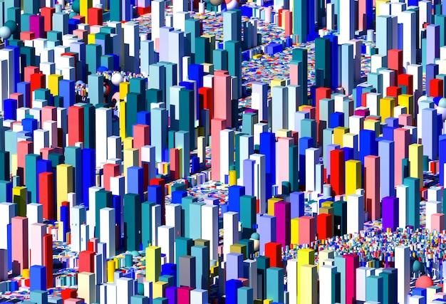Art abstrait 3d avec fond 3d décoratif surréaliste basé sur des figures de géométrie comme des cubes et des boules