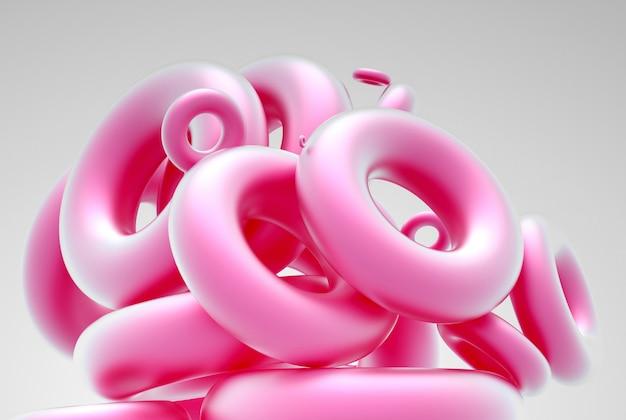 Art abstrait avec groupe de figures de géométrie torus ou anneaux de couleur rose
