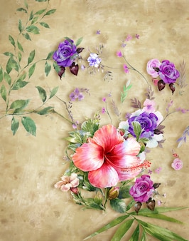Art abstrait peinture fleurs colorées. printemps multicolore