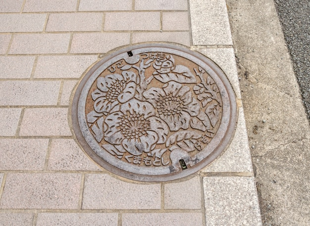 L'art sur le bouchon de vidange dans la rue dans la préfecture de fukuoka