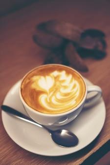 Art de café au lait, image de filtre vintage