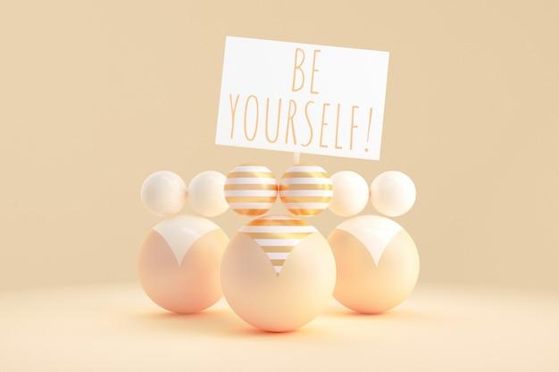 L'art conceptuel sur le thème de la positivité du corps. illustration 3d