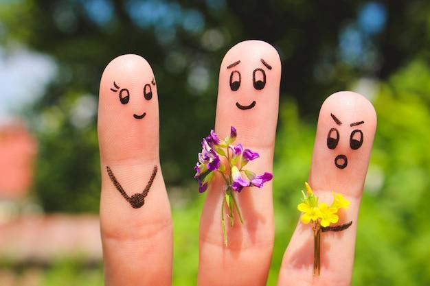Art de doigt. les hommes donnent des fleurs à une femme.