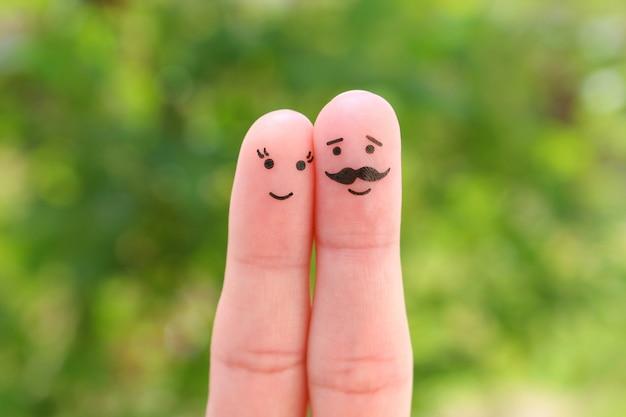 Art des doigts de couple heureux