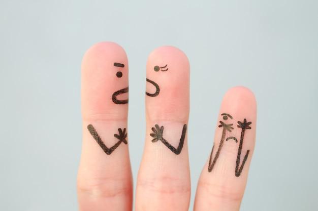 L'art des doigts de la famille pendant la querelle. concept de querelle des parents, l'enfant était bouleversé.