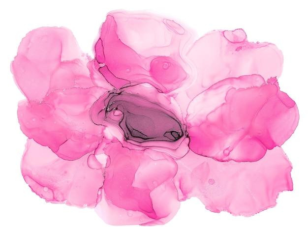 Art d'encre d'alcool. art fluide abstrait peinture technique d'encre à l'alcool fleur rose
