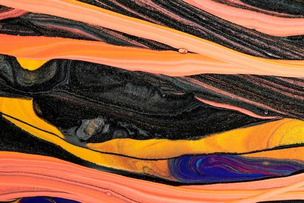 Art expérimental de bricolage fond orange en marbre liquide abstrait