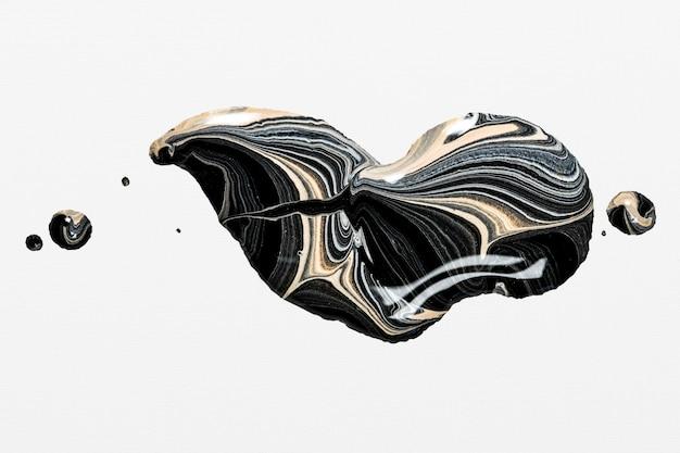 Art expérimental d'élément fait main de peinture acrylique esthétique de tourbillon de marbre noir