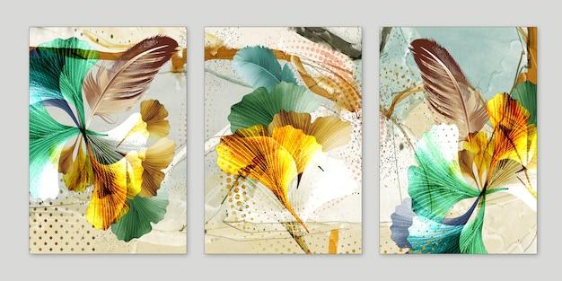 Art fonctionnel d'art abstrait comme la géode aquarelle peignant le marbre doré