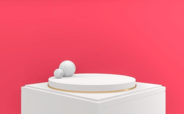 Art fond rose blanc style podium cercle design minimal.3d render