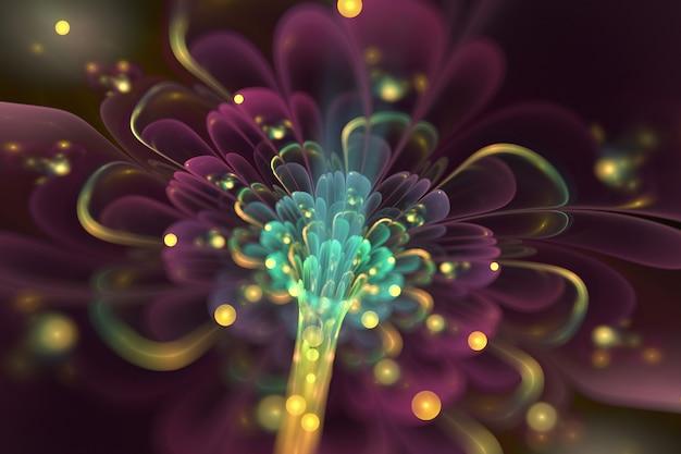Art fractal abstrait. pétales de fleurs 3d brillants violets et bleus. fond sombre.