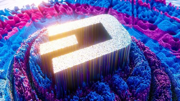 Art numérique du symbole du logo dash. illustration 3d futuriste de crypto-monnaie. fond de crypto.