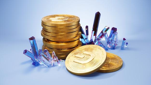 Art numérique du symbole du logo dash. pièce de crypto-monnaie dash et cristaux illustration 3d. fond de crypto.