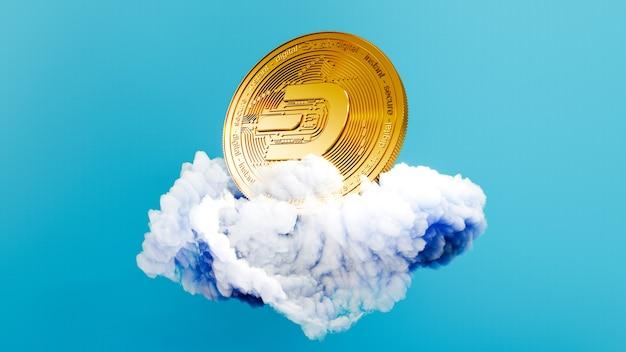 Art numérique du symbole du logo dash. pièce de crypto-monnaie dash sur l'illustration 3d de nuage. fond de crypto.