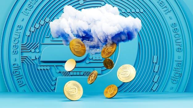 Art numérique du symbole du logo dash. pluie de pièce de monnaie de crypto-monnaie dash illustration 3d. fond de crypto.