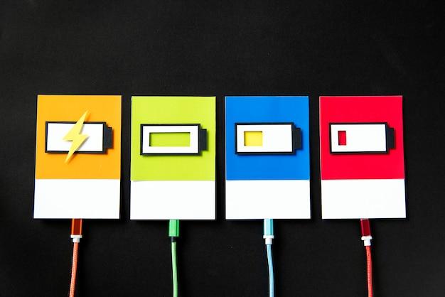 Art en papier 3d d'une batterie en charge