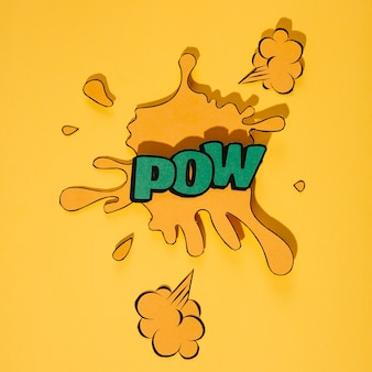 Art rétro du mot pow green sur fond jaune splash