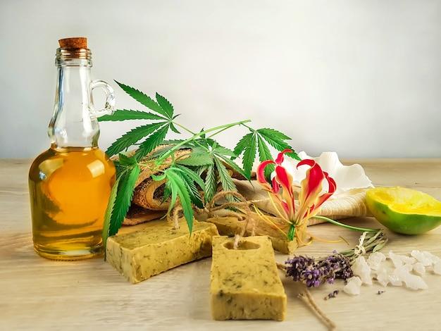Artisanat et artisanat savon artisanal à base de mangue chanvre lavande huile de chanvre naturel avec gros sel rose savon écologique naturel fait main