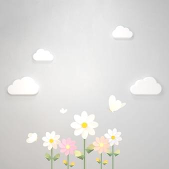 Artisanat en papier de fleurs de printemps et de papillons en rendu 3d