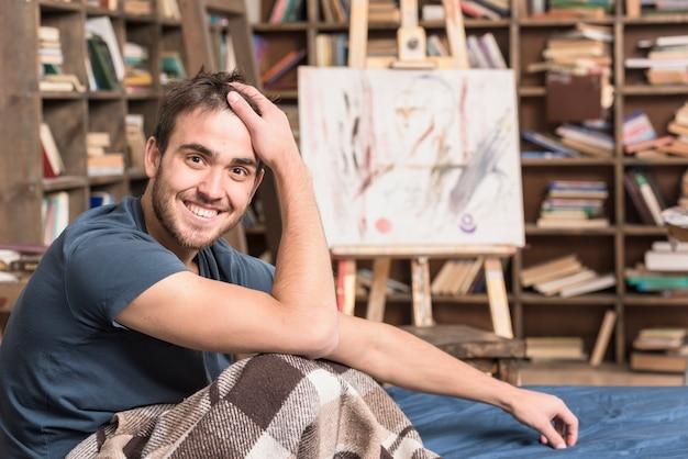 Artiste au lit en studio