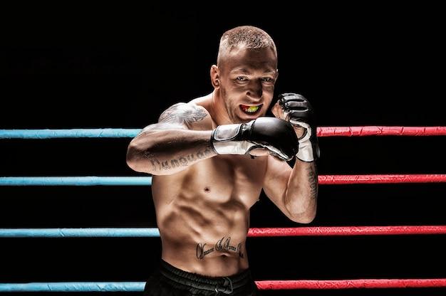 Artiste martial mixte posant dans un ring de boxe. concept de mma, boxe thaï, boxe classique. technique mixte
