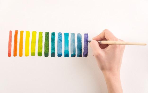 Artiste peignant des rayures colorées au pinceau sur papier blanc