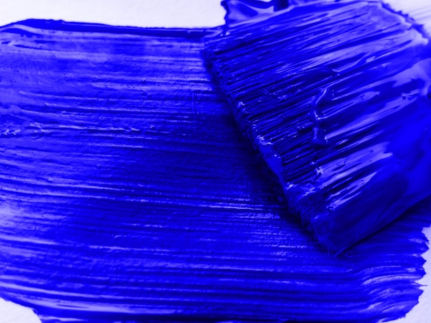 Artiste pinceaux avec peinture bleue closeup