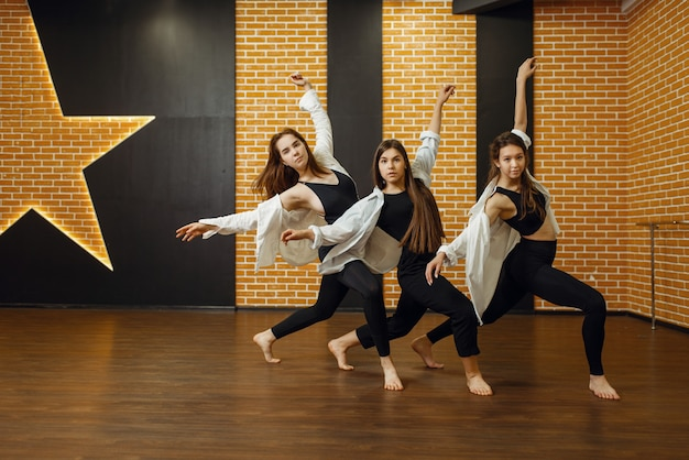 Artistes de danse contemporaine posant en studio. formation de danseurs en classe, ballet moderne, danse d'élégance, exercice d'étirement