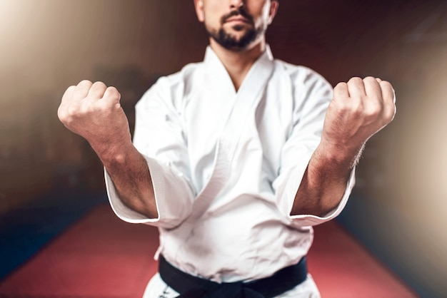 Arts martiaux, homme en kimono blanc avec ceinture noire