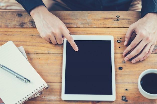 Asia business, utilisant, tablette, table, café, magasin, millésime, filtre.