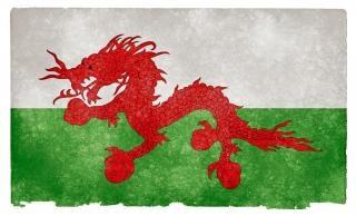 Asiatique drapeau grunge vieux gallois