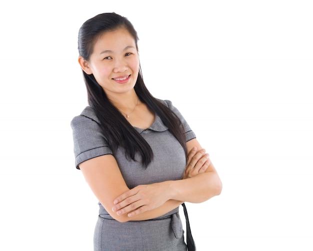 Asiatique éducation / femme d'affaires sur fond blanc