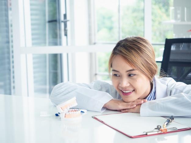 Asiatique femme dentiste à la recherche sur un modèle de mâchoire