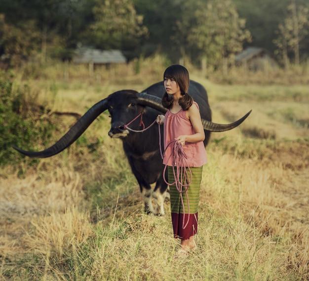 Asiatique, femme, écoute, radio, bison, thaïlande