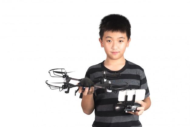 Asiatique, tenue, drone, et, radio, télécommande