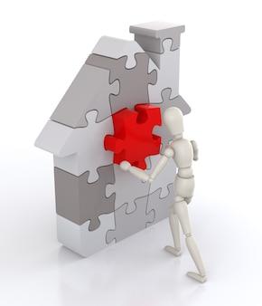 Assemblage de puzzles de forme de maison isolés sur blanc