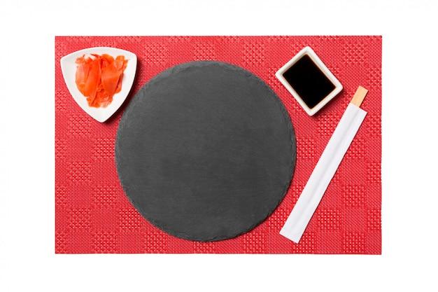 Assiette ardoise noire emptyround avec baguettes