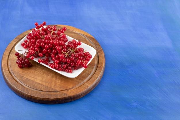 Une assiette blanche pleine de groseille rouge sur une surface bleue