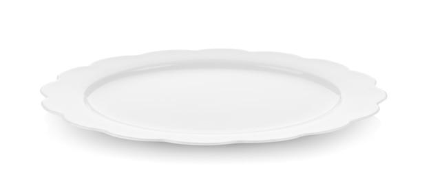 Assiette en céramique moderne sur mur blanc