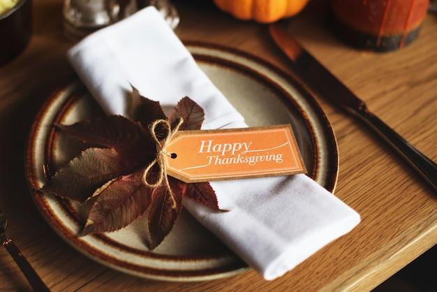 Assiette couteau thanksgiving table setting concept