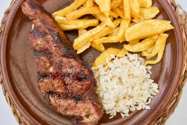 Assiette d'une escalope de veau avec pommes de terre sautées et riz.